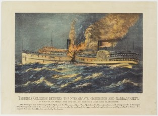 Terrible Collision Between The Steamboat STONINGTON And NARRAGANSETT., Currier & Ives