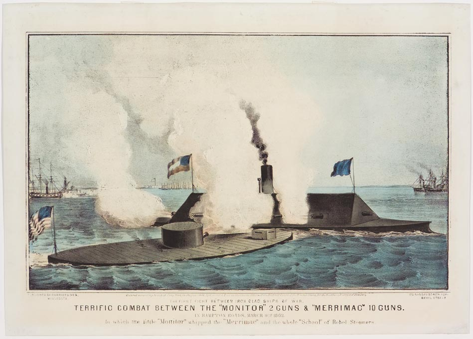 Two submarines at battle at center
