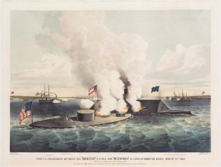 Terrific Engagement Between The Monitor 2 Guns, And Merrimac 10 Guns, In Hampton Roads, March 9th 1862. The First Fight Between Ironships Of War., Currier & Ives