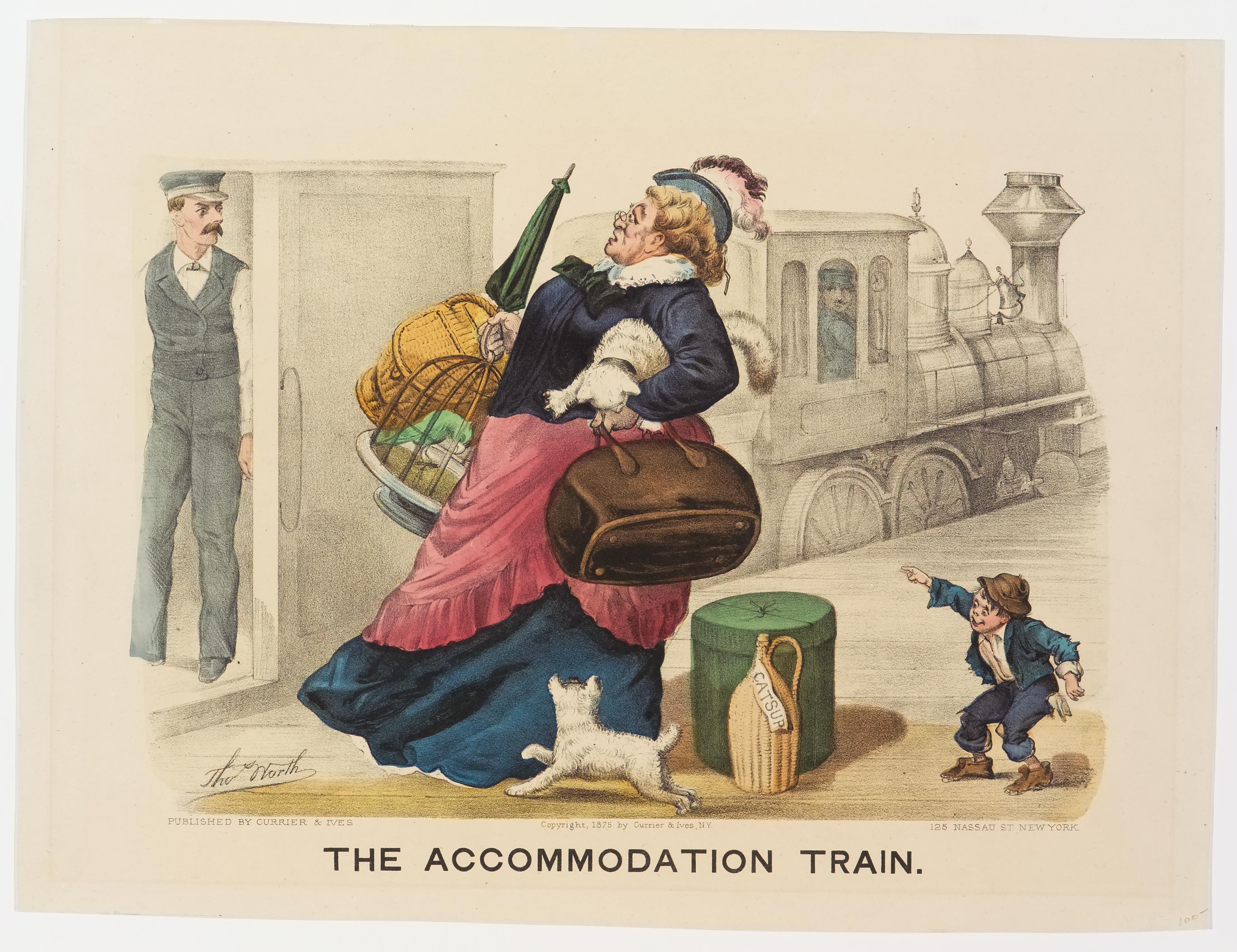 Porter standing in doorway of train at left looking at woman loaded with luggage and a cat and a dog approaching train