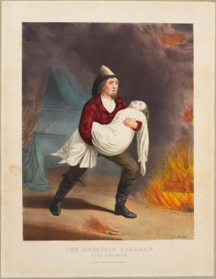 The American Fireman. Prompt To The Rescue, Currier & Ives