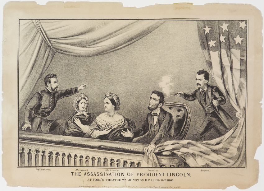Abraham Lincoln to right of Mrs