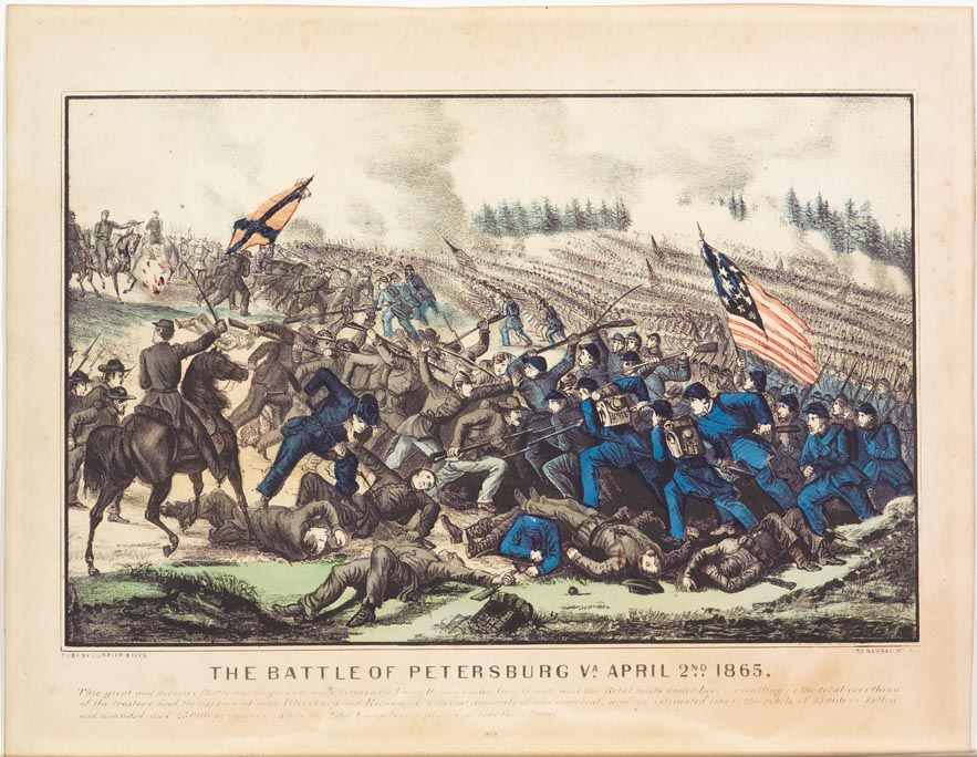 Battle scene - blue uniformed soldiers approaching center from right