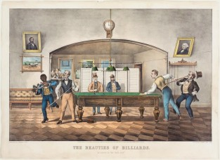 "The Beauties Of Billiards. ""A Carom On The Dark Red."", Currier & Ives"