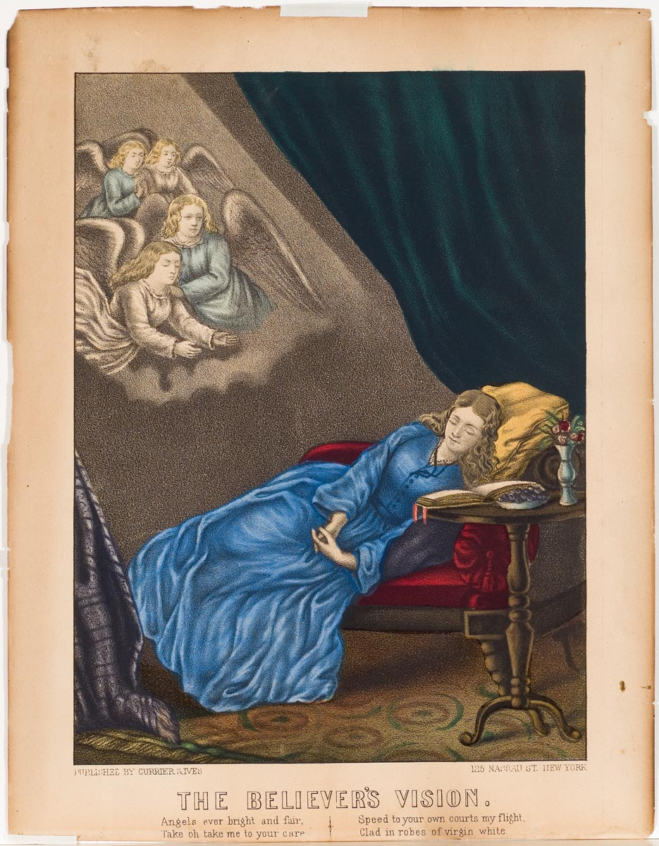 Woman in blue dress asleep on chaise in right of image