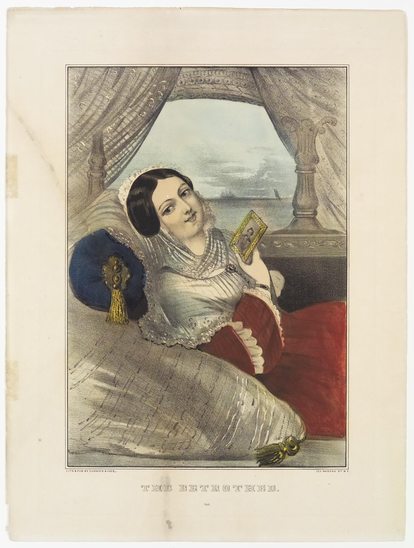 Woman in red dress reclining on pillows (one under her head in blue)