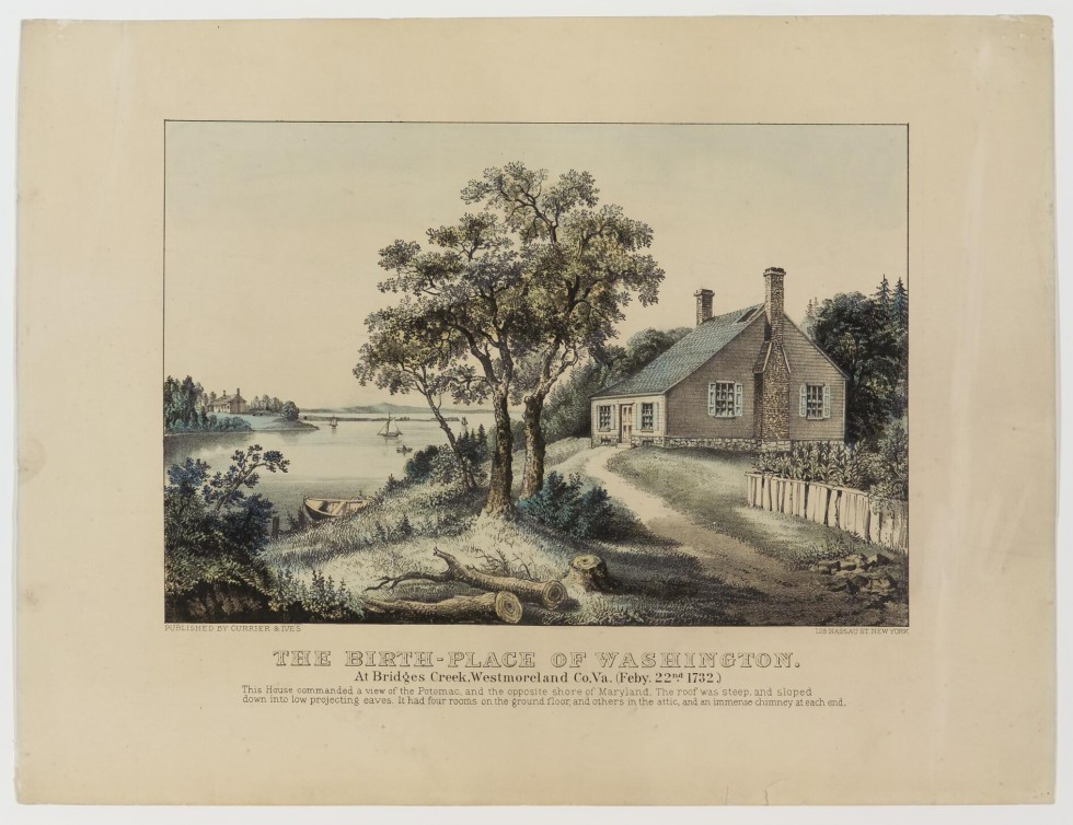 House to right with two windows (12 pane) at side and two at front facing river; double brick chimney