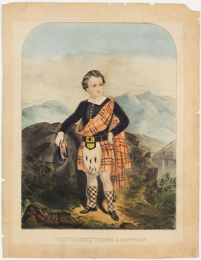Young man at center facing to right of viewer in Scottish dress -orange plaid shawl