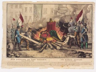 The Burning Of The Throne Paris 25th February 1848, Nathaniel Currier