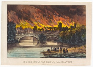 The Burning Of Warwick Castle, Dec 3rd 1871 Founded A.D. 813, Currier & Ives