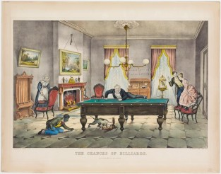 "The Chances Of Billiards. ""A Scratch"" All Around, Currier & Ives"