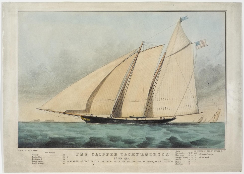 Four masted ship headed toward left in image
