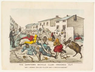 "The Darktown Bicycle Club- Knocked Out. ""Dar! I Knowed Dem Odd Fellers Was A Breedin Mischief!"", Currier & Ives"
