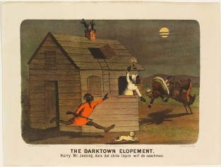 The Darktown Elopement. Hurry Mr. Jonsing, Dars Dat Chile Lopin Wif De Coachman, Currier & Ives