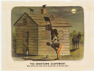The Darktown Elopement. Skip Softly Lub, Dont Sturb De Ole Man And De Bull Pup!, Currier & Ives