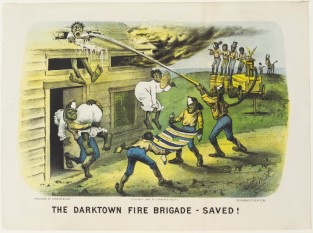 The Darktown Fire Brigade – Saved!, Currier & Ives