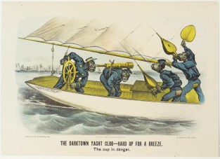 The Darktown Yacht Club- Hard Up For A Breeze. The Cup In Danger, Currier & Ives