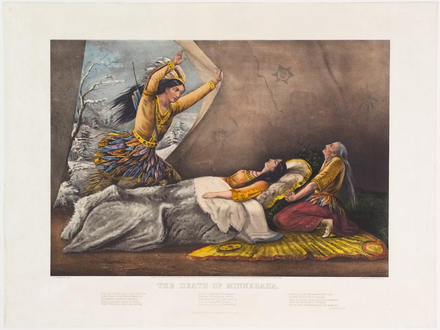 Native American young woman lying on mattress in tent