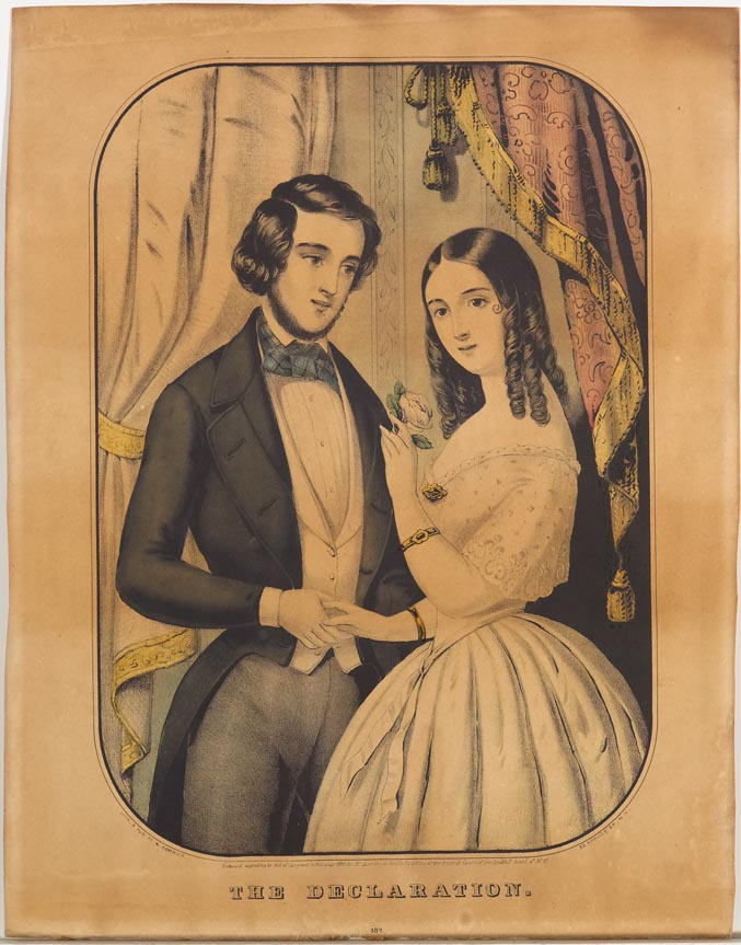 Couple at center standing between two drapes - he at left holding her right hand looking at her; she at right holding a rose in raised left hand looking out toward viewer