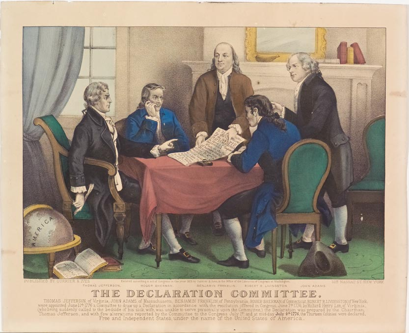 Interior scene of 5 men around table discussing document Benjamin Franklin (at center) holds