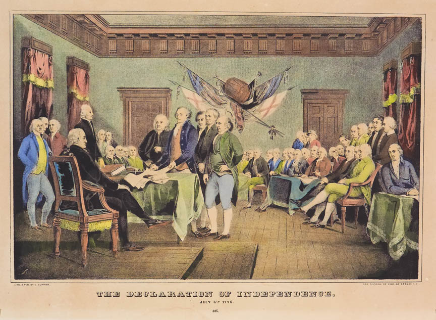 Interior scene of groups of men in discussion over document in hands of one at table in forefront