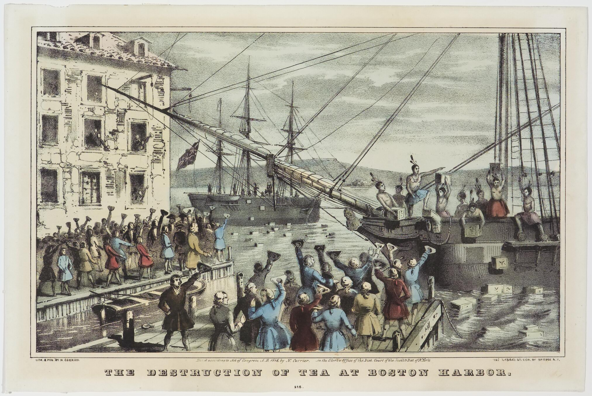 Ship at right in harbor with Native Americans tossing crates off ship into water