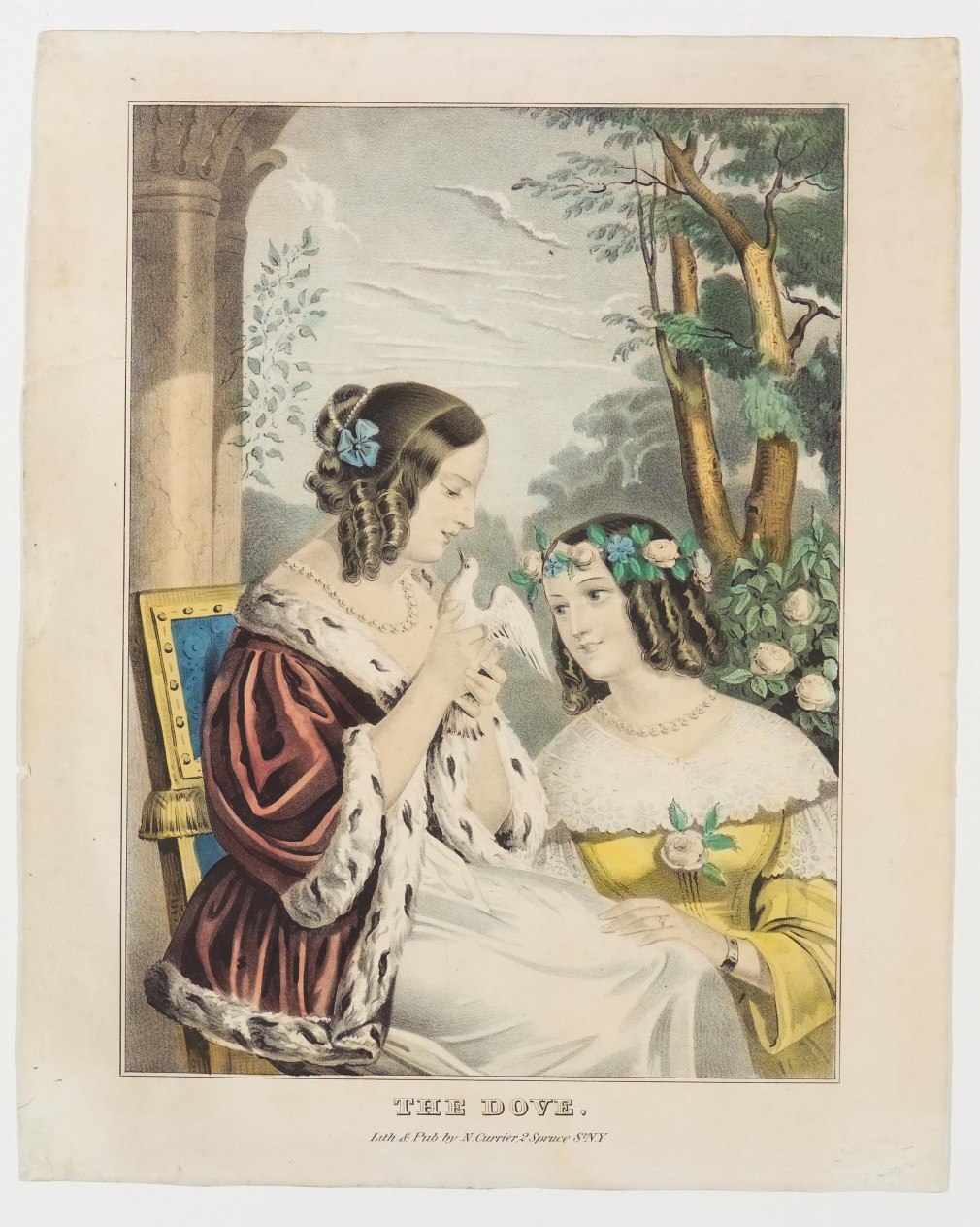 Two women - one on left seated holding and looking down at dove; one on right in yellow dress and kneeling and looking up at dove