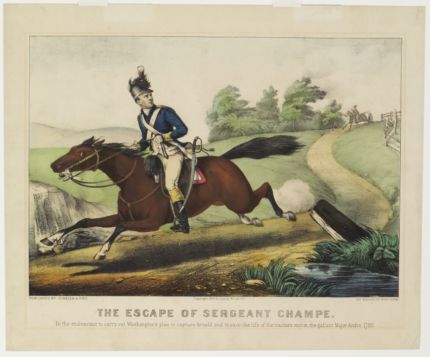 Rider in uniform atop horse racing down path while rider looks over his proper left shoulder to those chasing him