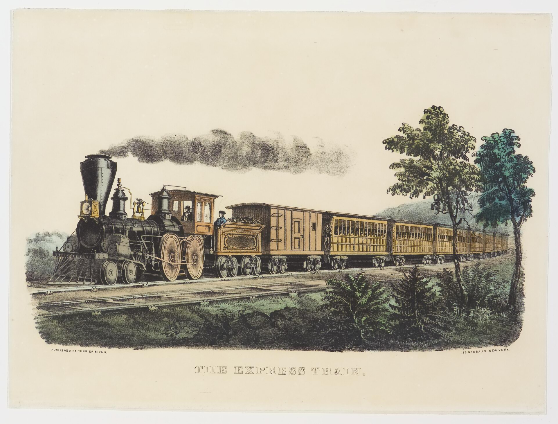 Engine with 9 cars including first being coal car; headed toward left in image alongside a second set of tracks