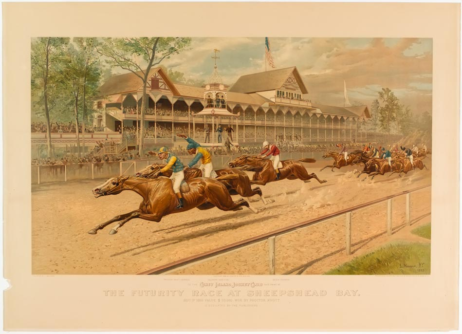 Horse race scene in front of grandstand