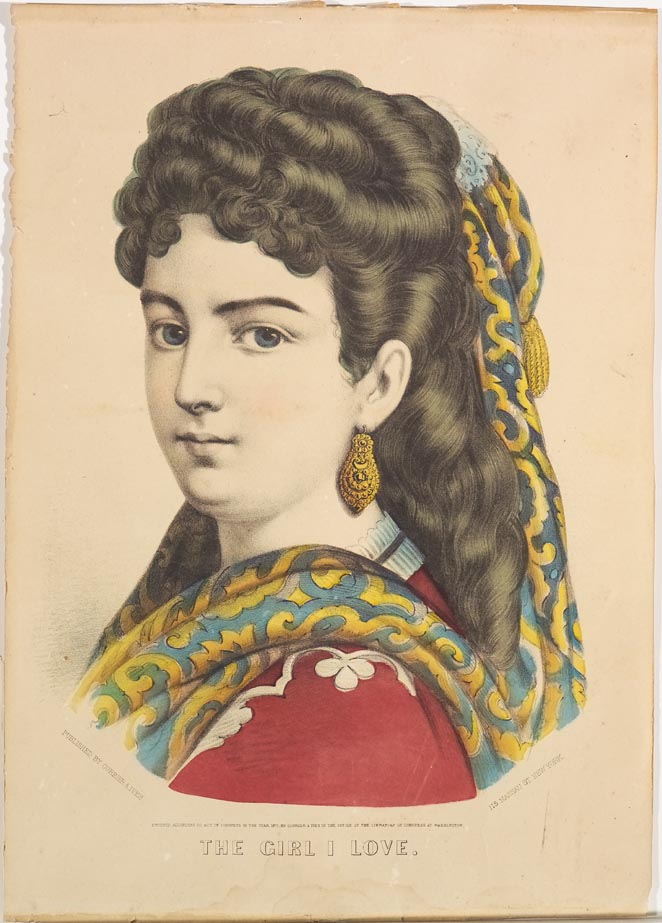 Bust of a woman in red dress with blue and gold shawl in hair and flowing down around shoulders