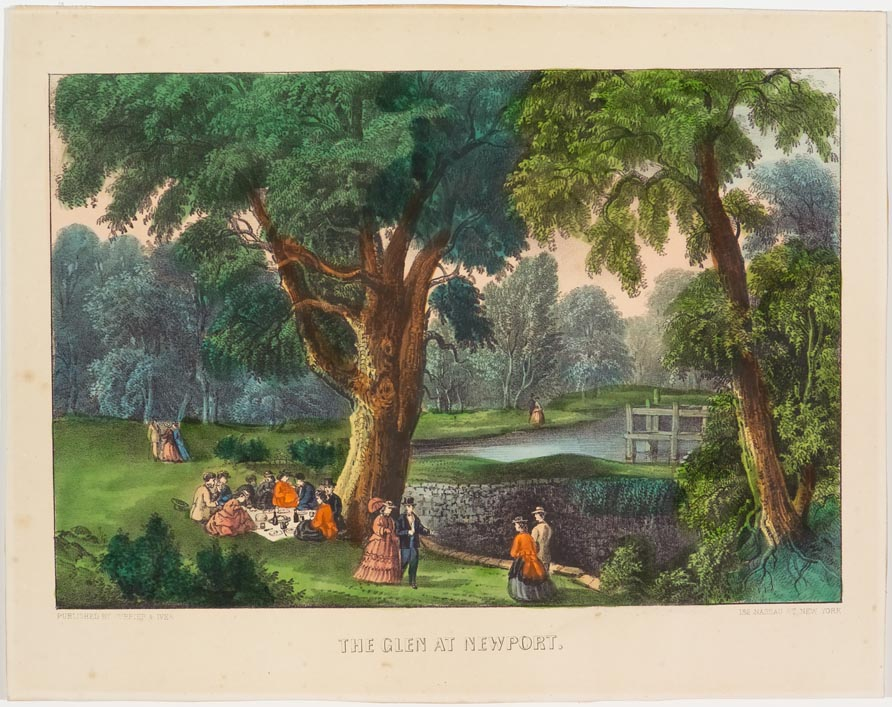 Pastoral scene of people walking and picnicking in park