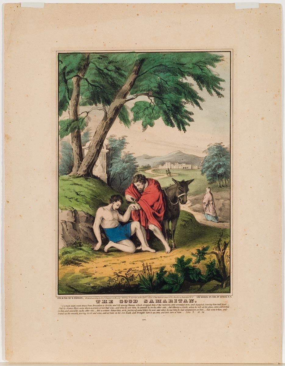 Man in red cloak aside donkey aiding another man resting against hillside wearing only his raiment (a waist to knee covering)