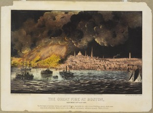 The Great Fire At Boston, Currier & Ives