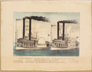The Great Mississippi Steamboat Race, Currier & Ives