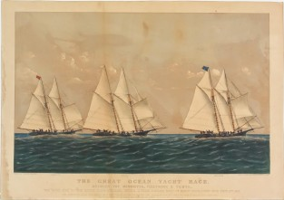 The Great Ocean Yacht Race. Between The HENRIETTA, FLEETWING AND VESTA, Currier & Ives