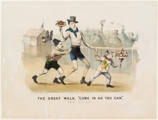 "The Great Walk. ""Come In As You Can"". The Finish, Currier & Ives"