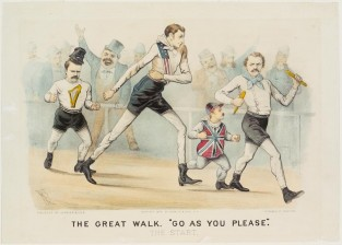 "The Great Walk. ""Go As You Please."" The Start., Currier & Ives"