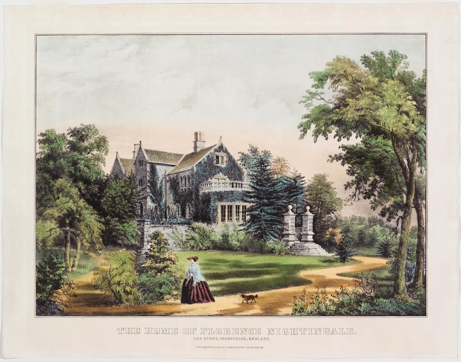 Large stone ivy-covered manor house at center