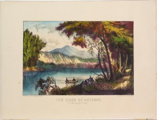 The Hues Of Autumn. On The Racquet River., Currier & Ives