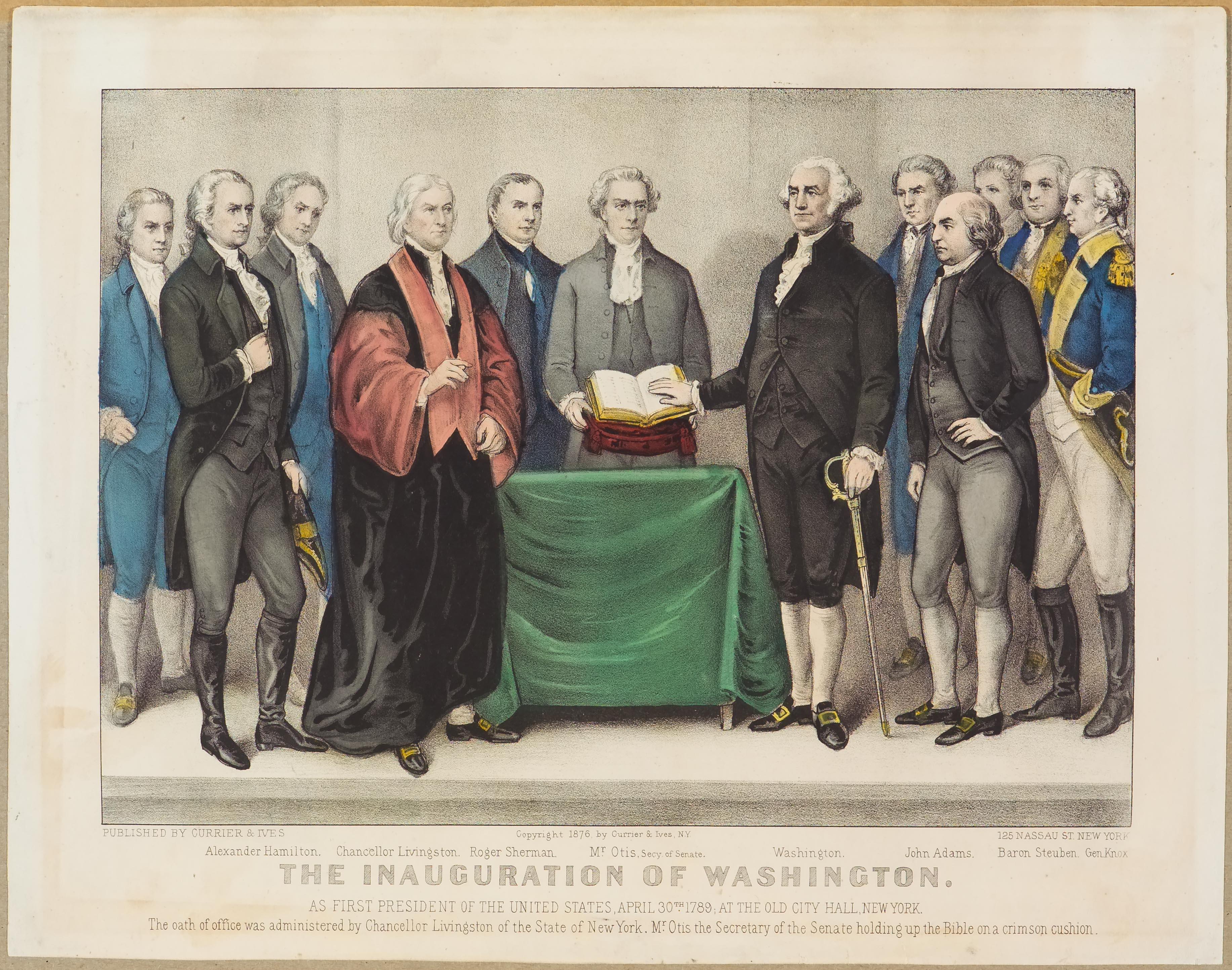 1789 George Washington The Inauguration Of Washington As First President Of