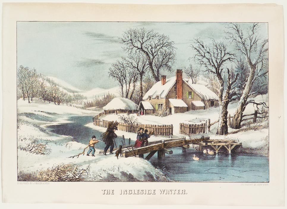 Winter scene - Family of five and a dog crossing bridge over stream to their house while carrying bundles of wood