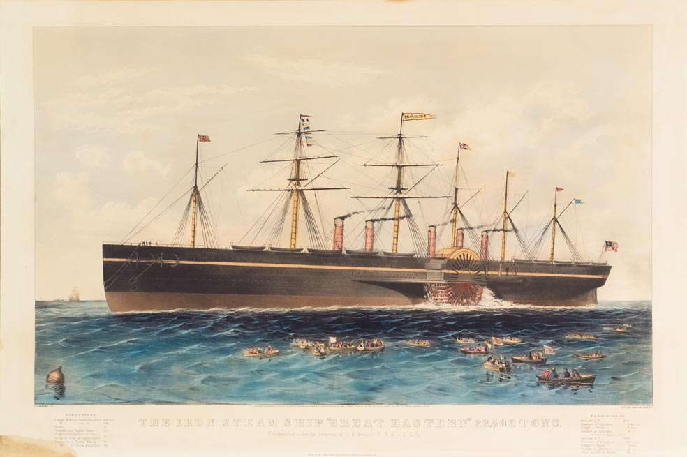Paddle wheel steam ship sailing to left in image