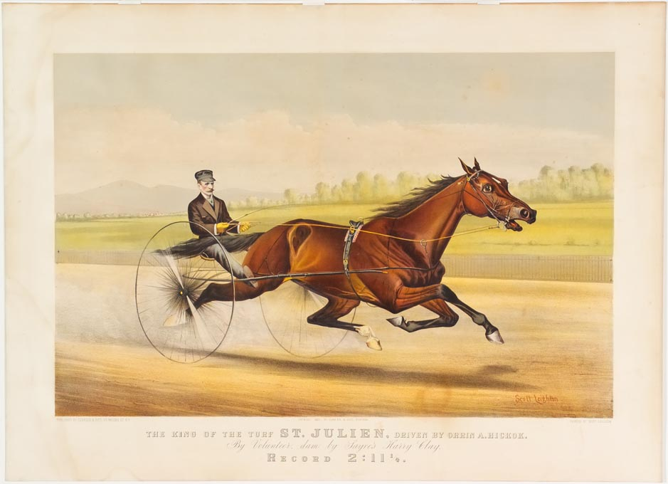 Driver and horse riding to right in image