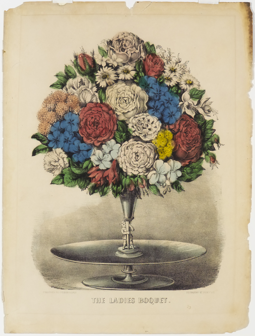 The ladies bouquet currier ives springfield museums multi colored bouquet of flowers in nosegay held on stand by small image of child izmirmasajfo