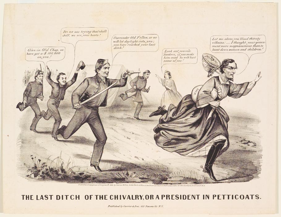 Black and white of soldiers running after another soldier wearing a dress