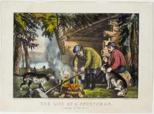 The Life Of A Sportsman. Camping In The Woods, Currier & Ives