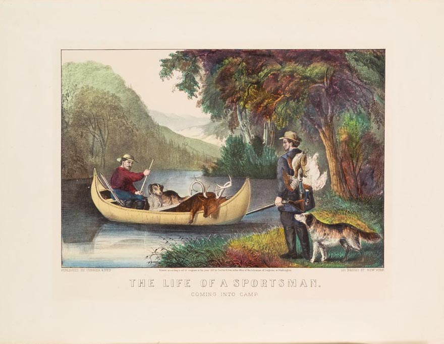 Man in canoe with rifle