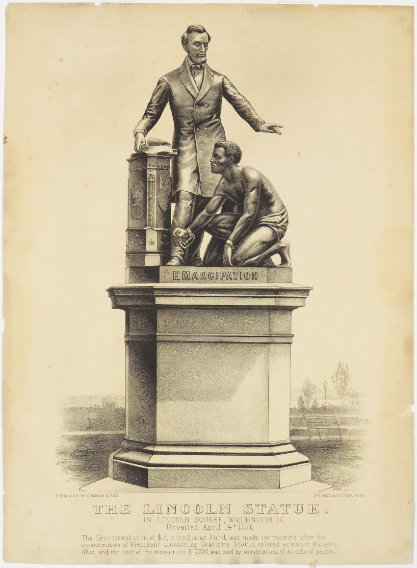 Statue with Lincoln standing and raising his proper left hand over a shackled African American male kneeling before him