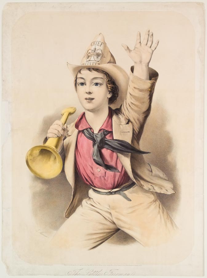 Young boy with horn